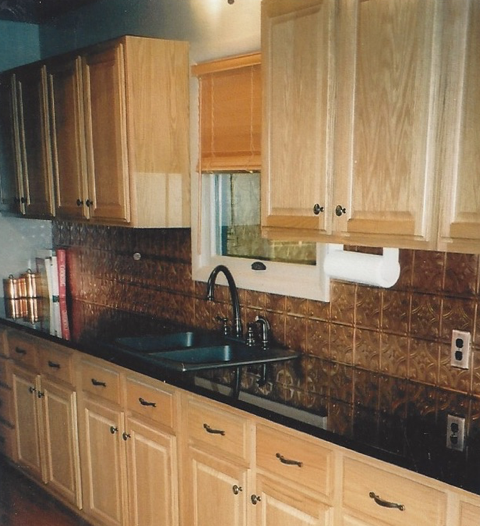 Metal tin backsplash