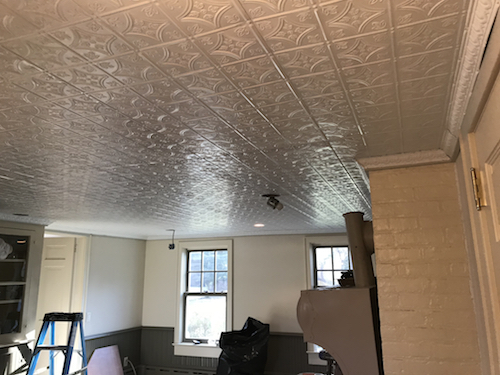 White Tin Ceiling Installation