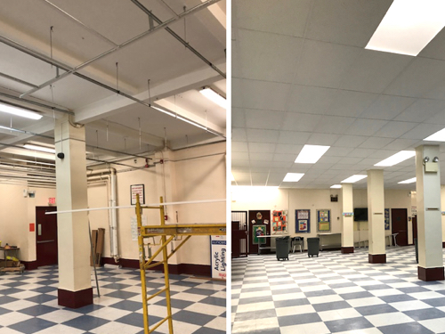School cafeteria drop ceiling installation
