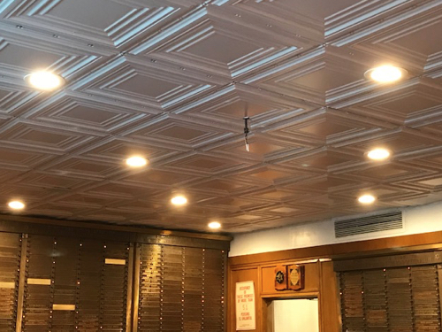 Tin ceiling tile installation