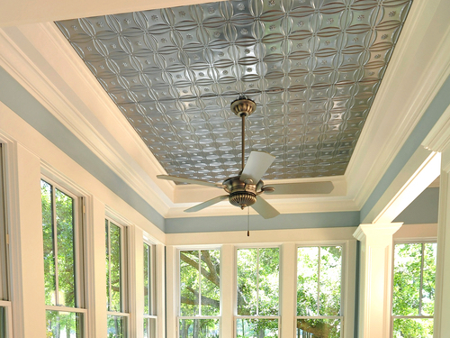 Chrome finish tine ceiling tiles