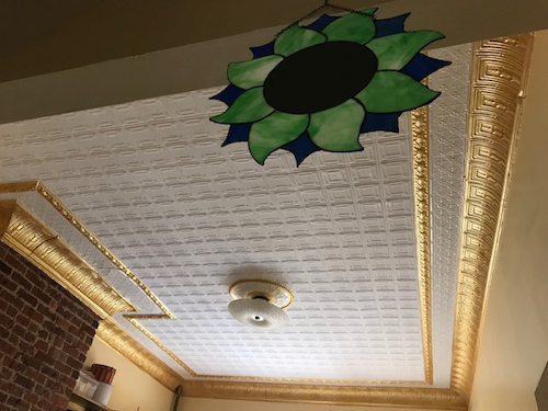 pre-painted white tin ceiling with copper cornice